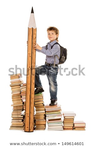 kids climbing pile of books stock photo © vectomart