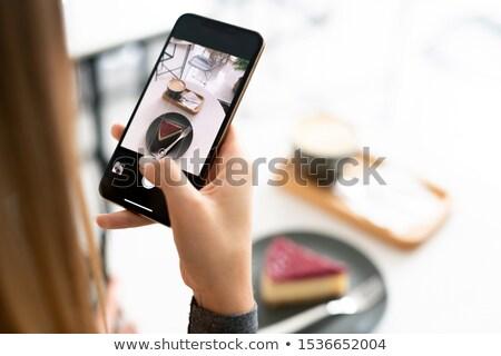 капучино Тирамису торт смартфон Сток-фото © pressmaster