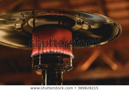 Design stainless steel metal gas burning indoor patio heater with blurred enteriour background Stock photo © galitskaya