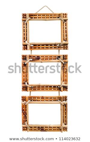 Drie bamboe foto frames geïsoleerd witte Stockfoto © nomadsoul1
