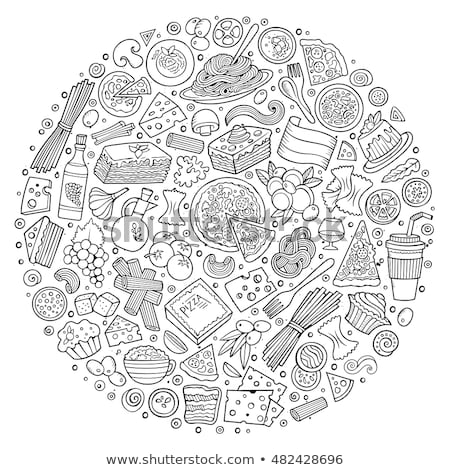 Conjunto comida italiana desenho animado rabisco objetos símbolos Foto stock © balabolka