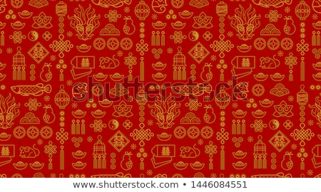 Chinese new year rat 2020 gold outline icon card Stock photo © cienpies