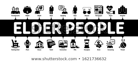 Elder People Pensioner Minimal Infographic Banner Vector Stock photo © pikepicture