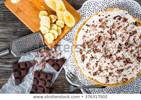 Chocolate pie with mascarpone cream Stock photo © Alex9500