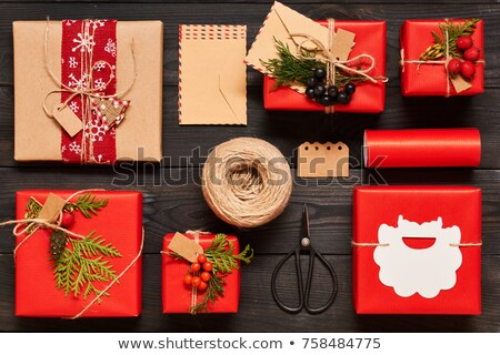 Karácsony ajándék csomagolópapír szalag olló fekete Stock fotó © galitskaya