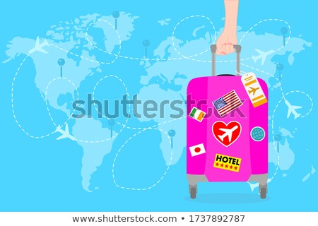 Turista nő világutazás óra tart telefon Stock fotó © yupiramos