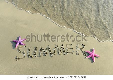 empreinte · carbone · écrit · sable · plage · texture · fond - photo stock © cienpies