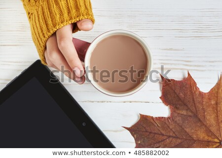 tablet computer, hot chocolate and autumn leaves Stock photo © dolgachov