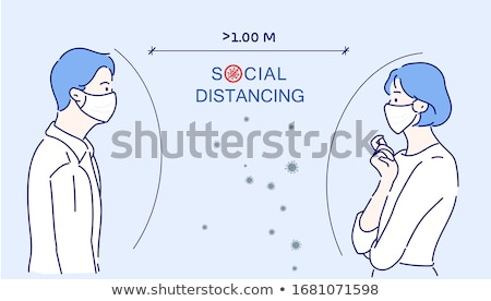 Man Doctor Mask Cartoon Keep Distance Stock photo © limbi007