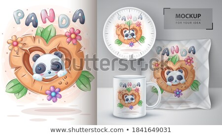Panda in cup - poster and merchandising. Stock photo © rwgusev