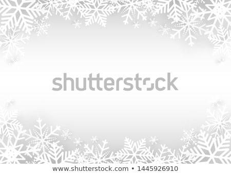 Kar taneleri çerçeve mavi soyut mutlu kar Stok fotoğraf © toponium