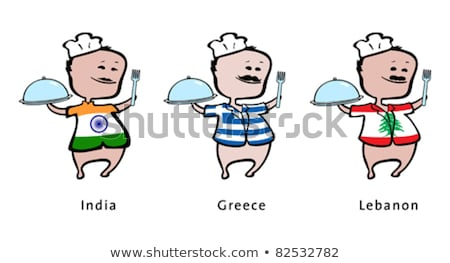 Chef of restaurant from India, Greece, Lebanon - vector illustration