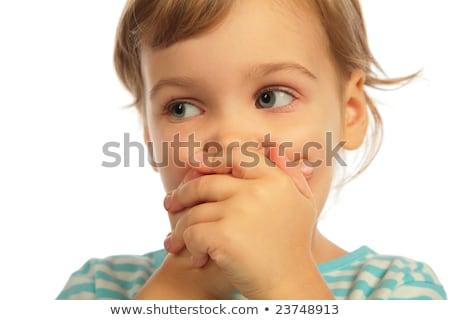 dziewczyna · zamknięte · usta · ręce · rodziny · strony - zdjęcia stock © Paha_L