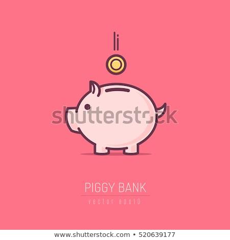 Pembe kumbara para dolar fatura katlanmış Stok fotoğraf © stockfrank