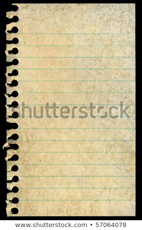 Stock photo: old dirty stained blank torn notepaper page isolated on a black background
