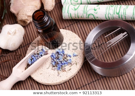 Acupuncture needles, moxa sticks and ginger Stock photo © Amaviael