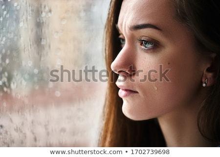 女性 涙 悲しい 閉店 まぶた クローズアップ ストックフォト © lightkeeper