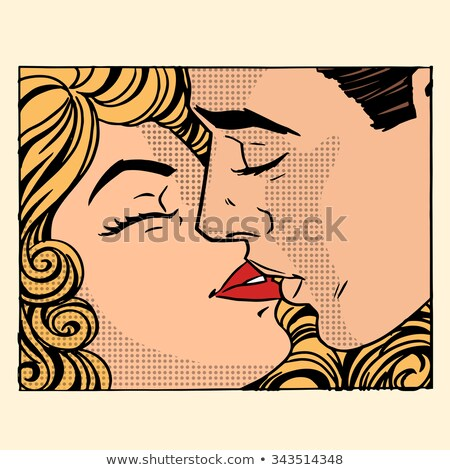 Kissing Couple In Frame Vector Stock fotó © studiostoks