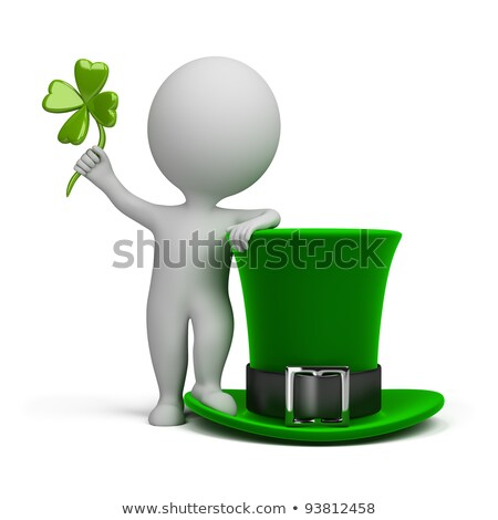 Shamrock · 3d · illustration · geïsoleerd · witte · blad · groene - stockfoto © anatolym