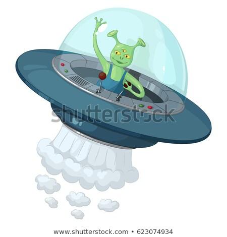 Green Three-Eyed Extraterrestrial Alien Waving Stock photo © Balefire9