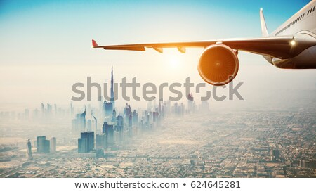 Business Background with Moden City Earth and Aircraft stock photo © WaD