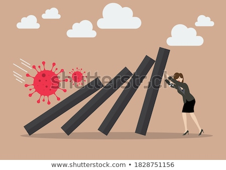 Concept of Financial Crisis in dominoes tiles Stock photo © kbfmedia