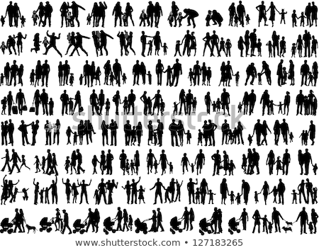 Stock photo: People silhouette family icon.