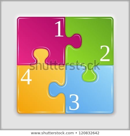 vecteur · illustration · pièces · de · puzzle · quatre · coloré · affaires - photo stock © orson