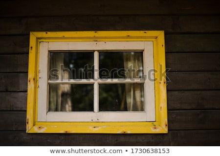 Idilli alpesi kunyhó ablak fa ház Stock fotó © franky242
