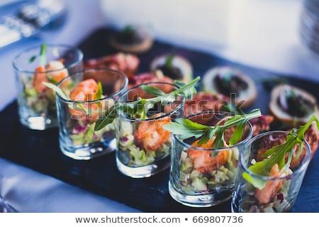 Bufet żywności ryb chleba jadalnia krem Zdjęcia stock © M-studio