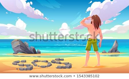 mensagem · garrafa · enterrado · areia · praia · azul - foto stock © antonprado