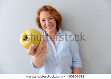 Foto stock: Senior · mulher · maçã · dieta · mulheres