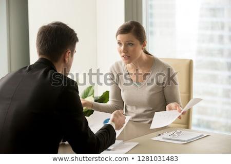 ビジネスマン 女性実業家 けんか 顔 男 企業 ストックフォト © photography33
