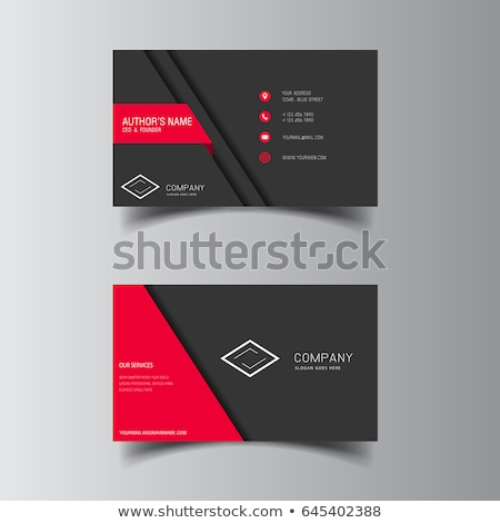 Stock photo: Black Business Card with Texture and Red Label