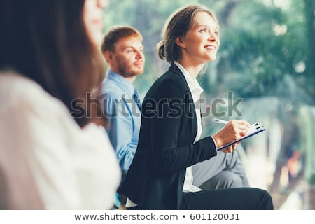 Stock fotó: üzletemberek · jegyzetel · üzlet · konferencia · vonal · iroda