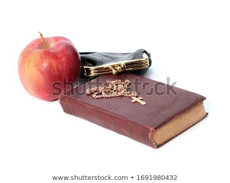 Dourado atravessar maçã velho livro educação bíblia Foto stock © gavran333