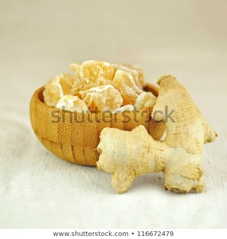 砂糖漬けの 生姜 ピース スプーン キャンディ 白 ストックフォト © elenaphoto
