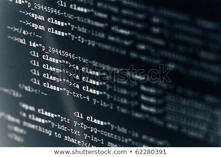 Kodu html język czarny LCD ekranu Zdjęcia stock © simpson33