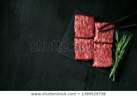 nyers · marhahús · vesepecsenye · közelkép · fából · készült · háttér - stock fotó © kesu