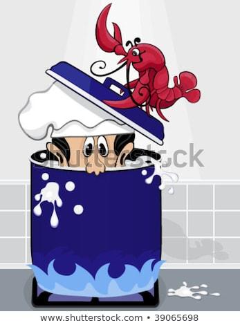 Homár főnök edény víz lefelé szakács Stock fotó © kittasgraphics