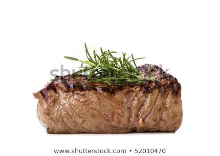 いい ステーキ ディナー 花 ガラス 赤ワイン ストックフォト © DonLand