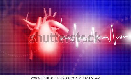 ECG abstract backgrounds with human 3D rendered heart Stock photo © tolokonov