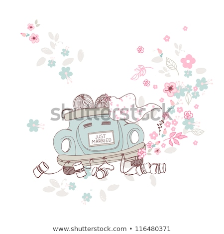 funny bride and groom on car isolated stock photo © hayaship