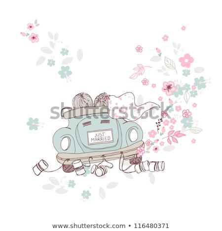 Сток-фото: смешные · невеста · жених · автомобилей · изолированный · белый