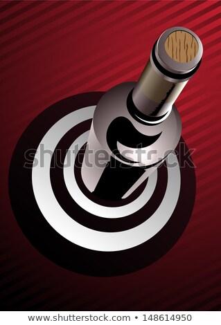 şarap · şişesi · ayakta · hedef · görmek · 3d · render - stok fotoğraf © Porteador