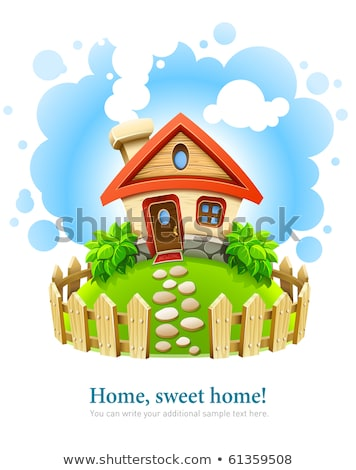 Stock photo: fairy-tale house on lawn with fence