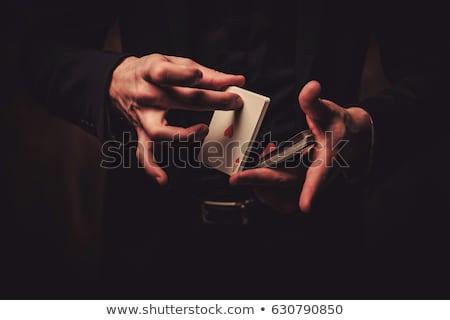 マジシャン 手 スーツ 楽しい 黒 カード ストックフォト © Alegria111