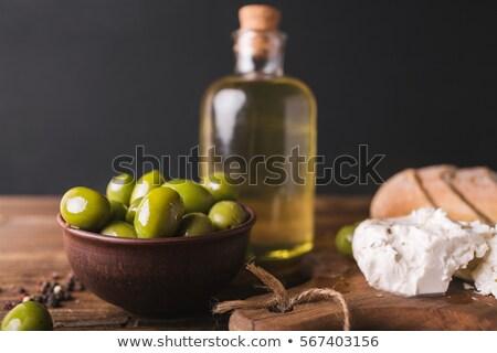 monte · recheado · verde · azeitonas · branco · Óleo - foto stock © stootsy