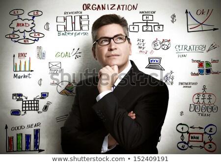 üzletember rajz szervezet üzlet férfi háttér Stock fotó © Kurhan