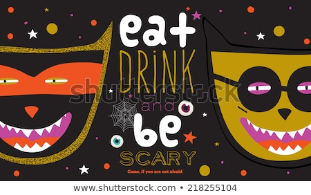 halloween party scary pumpkins bright colorful vector background stock photo © bharat